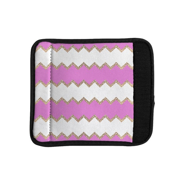 KESS InHouse Monika Strigel 'Avalon Pink Chevron' Rose White Luggage Handle Wrap