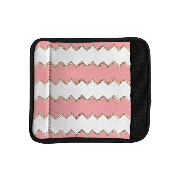KESS InHouse Monika Strigel 'Avalon Coral Chevron' White Blush Luggage Handle Wrap