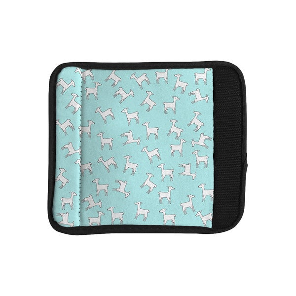 KESS InHouse Monika Strigel 'Baby Llama Multi' Blue White Luggage Handle Wrap