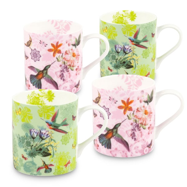 Konitz Waechtersbach White/Yellow/Purple Bone China Flowers and Birds Mugs (Pack of 4) 19413517