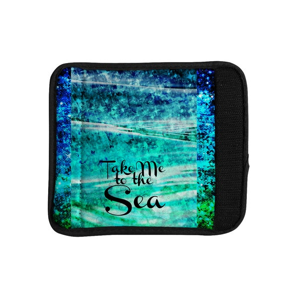 KESS InHouse Ebi Emporium 'Take Me to the Sea' Aqua Glitter Luggage Handle Wrap