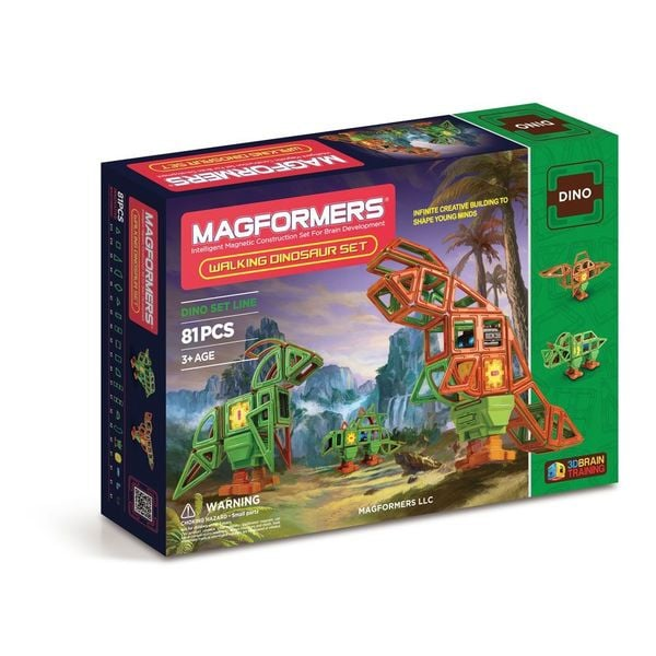 Magformers Walking Dinosaur Multicolor Plastic 81-piece Set 19413536