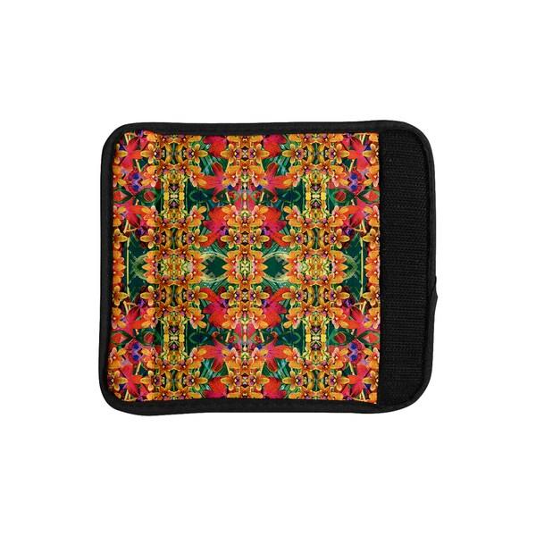 KESS InHouse Dawid Roc 'Tropical Floral' Orange Pink Luggage Handle Wrap