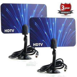 Digital Flat Thin Leaf TV HDTV UHF/VHF FM Radio Blue Antennas (Set of Two)