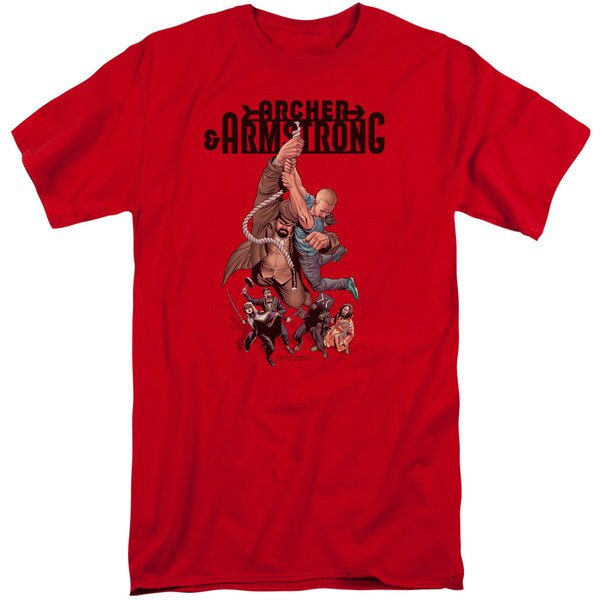 Archer & Armstrong/Hang in There Short Sleeve Adult T-Shirt Tall in Red