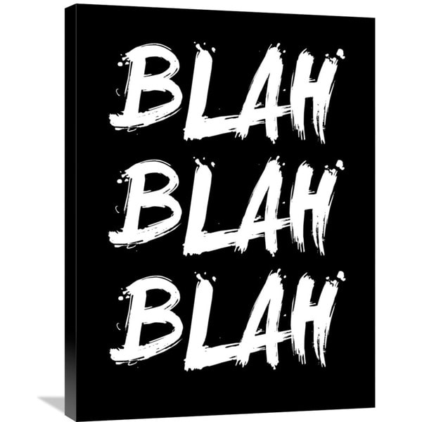 Naxart Studio 'Blah Blah Blah' Poster Black Stretched Canvas Wall Art