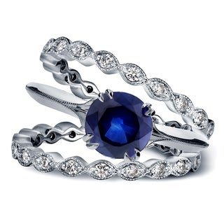 Annello 14k White Gold 1ct Blue Sapphire and 3/4ct TDW Diamond Floral Antique Double Eternity Band Bridal Set (G-H, I1-I2)