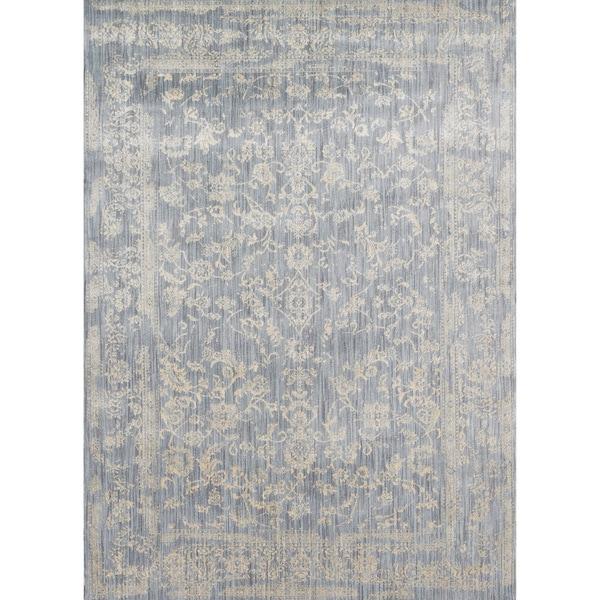Lucca Floral Light Blue/ Ivory Rug (5'3 x 7'8)