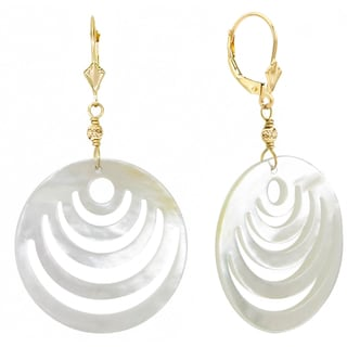 DaVonna 14K Yellow Gold Beads and Fleur de lis Lever Back with 30mm Mother of Pearls Earrings.