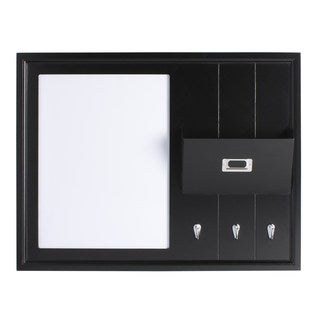 Designovation Dagny White/Black Wood Dry Erase Board Home Organizer with Mail Holder and Hooks