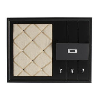 Designovation Dagny White/Black Wood Home Organizer with Fabric Memo Board, Mail Holder, and Hooks