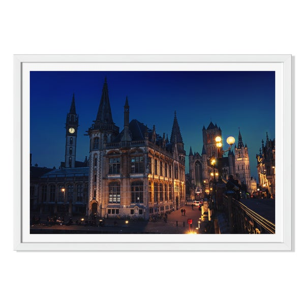 M.V. Photography 'Ghent In Belgium At Night 'Framed Paper