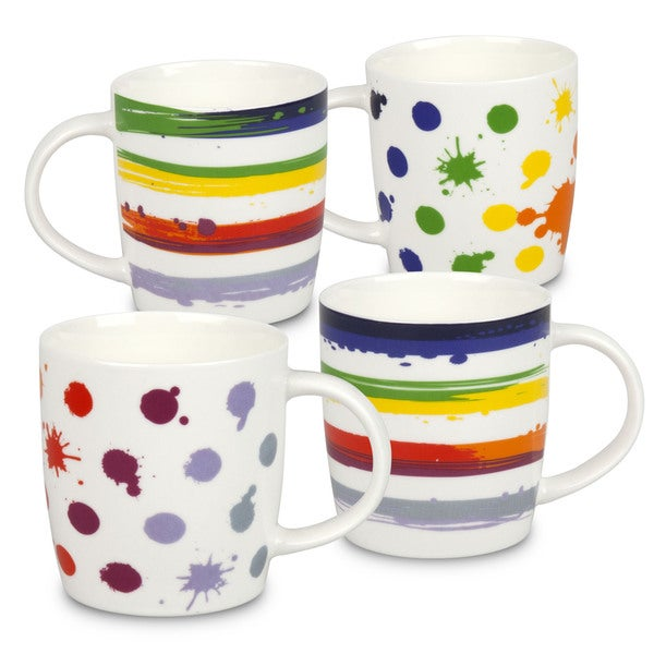 Konitz Waechtersbach VIVA White Bone China Rainbow Dots and Stripes Mugs (Pack of 4)
