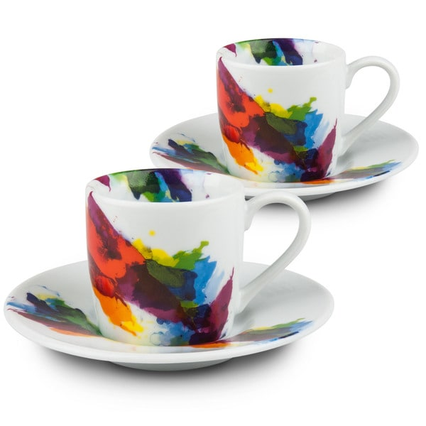 Konitz Waechtersbach On Color White Porcelain Espresso Cups and Saucers (Set of 2) 19414215