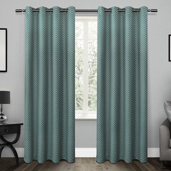 ATI Home ATI Chevron Blackout Thermal Grommet Top Window Curtain 84 - 96-inch Length Panel Pair