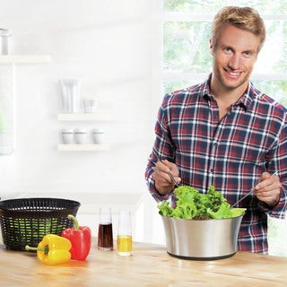 Leifheit Black/Silver Stainless Steel Salad Spinner