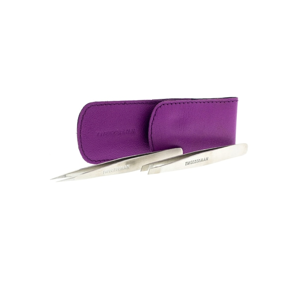 Tweezerman Petite Tweeze Set with Purple Leather Pouch