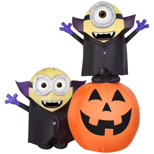 Gemmy Airblown Inflatables Gone Batty Minions with Pumpkin Scene