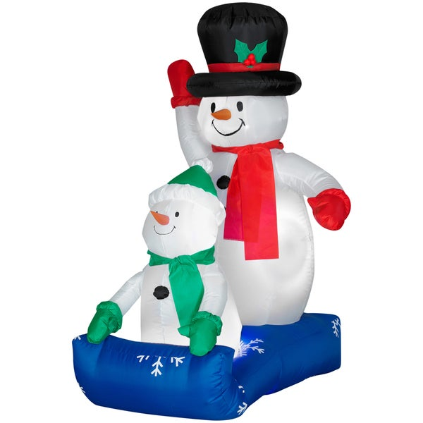 Gemmy Airblown Inflatables Father Snowman and Child