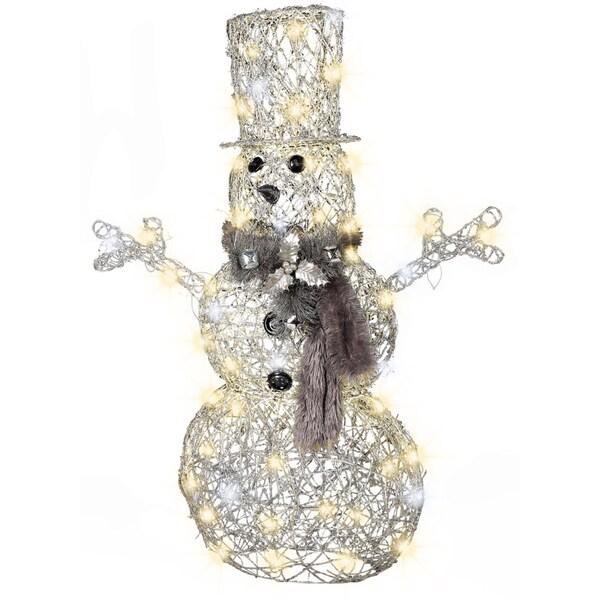 Gemmy Frozen Fire Silver Snowman