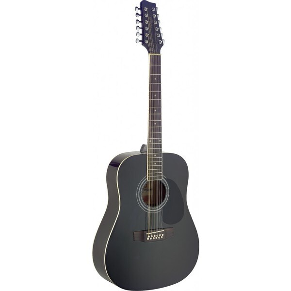 Stagg SA40D/12 Black Dreadnought Acoustic 12 String Guitar