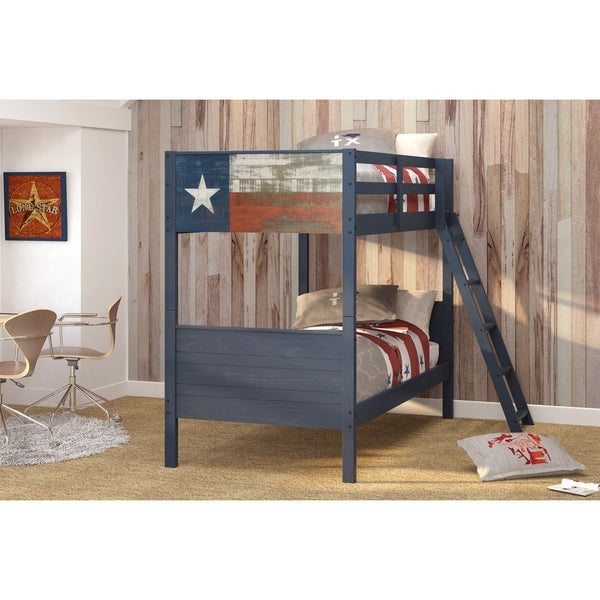 Donco Kids Lonestar Blue Pine Wood Twin over Twin Bunk Bed