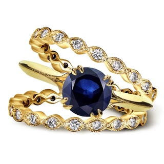 Annello 14k Yellow Gold 1ct Blue Sapphire and 3/4ct TDW Diamond Floral Antique Double Eternity Band Bridal Set (G-H, I1-I2)