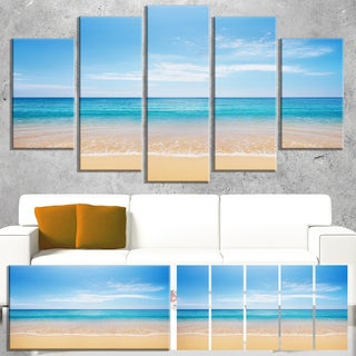 Wide Blue Sky Over Beach - Seashore Photo Canvas Print