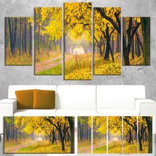 Bright Yellow Autumn Forest - Landscape Photo Canvas Art Print