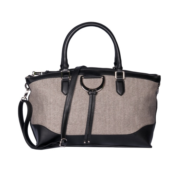 London Fog Bensen Black PVC Satchel