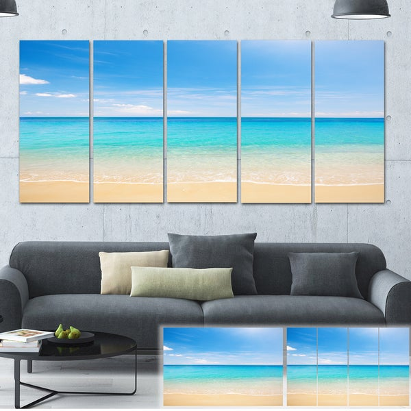 Bright Blue Tropical Beach - Seashore Photo Canvas Art Print