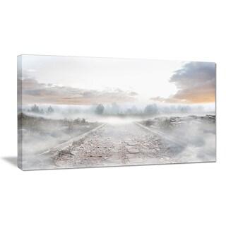 Stony Path to Misty Forest - Landscape Photo Canvas Art Print