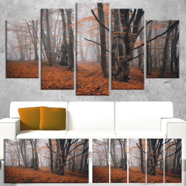 Large Fall Trees with Fallen Leaves - Landscape Photo Canvas Print
