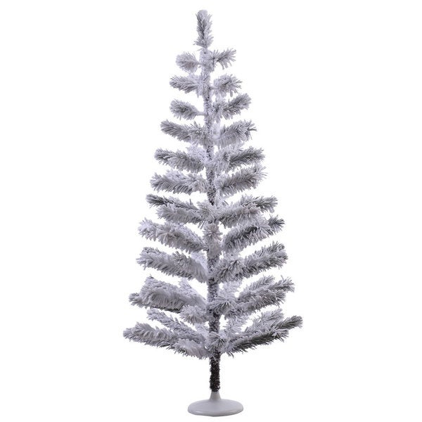 Vickerman White Plastic 4-foot Flocked Feather Unlit Artificial Christmas Tree