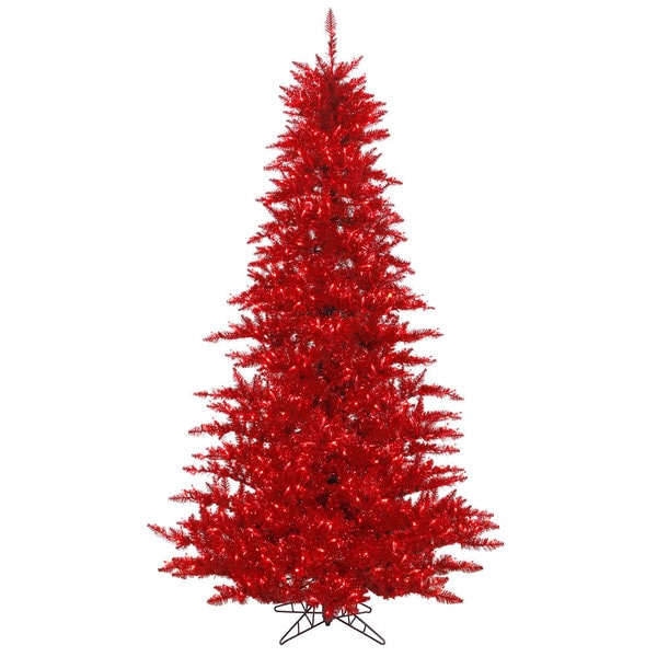 Vickerman Red Plastic 3-foot Tinsel Fir Artificial Christmas Tree with 100 Red LED Lights