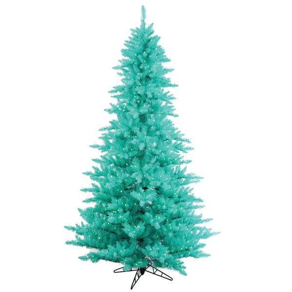 Vickerman Aqua Plastic 3-foot Fir Artificial Christmas Tree with 100 Aqua LED Lights