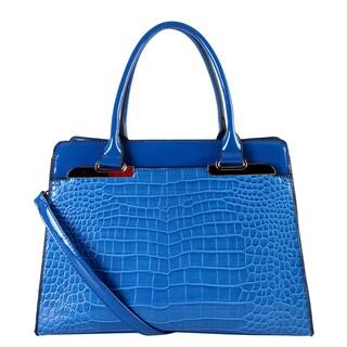 Rimen & Co. Blue Faux-leather Double-handle Handbag