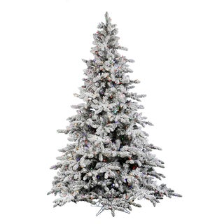 Vickerman Flocked White-on-Green PVC 9-foot Flocked Utica Fir Artificial Christmas Tree With 1,000 Multicolored LED Lights