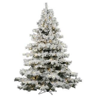 Vickerman Flocked White-on-Green PVC 9-foot Flocked Alaskan Pine Artificial Christmas Tree with 1200 Warm White LED Lights