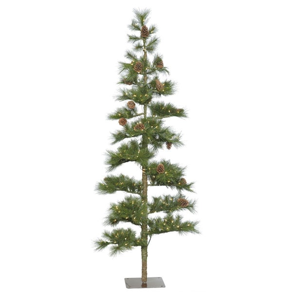 Vickerman Green Plastic 4.5-foot Mountain Pine Artificial Christmas Tree with 100 Clear Lights