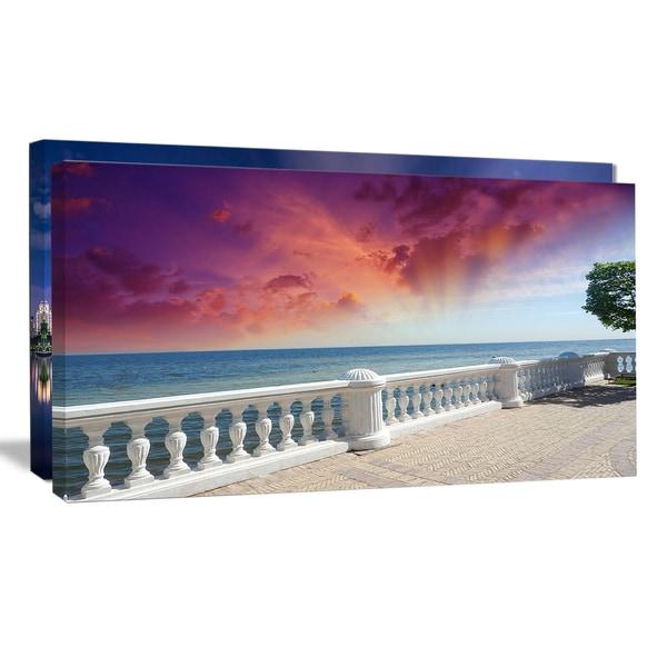 Stone Balcony with Ocean View - Seashore Photo Canvas Art Print
