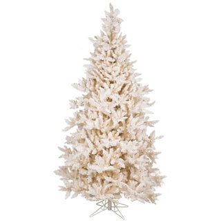 Vickerman Cream PVC 7.5-foot Flocked Vintage Fir Artificial Christmas Tree with 700 Warm White LED Lights