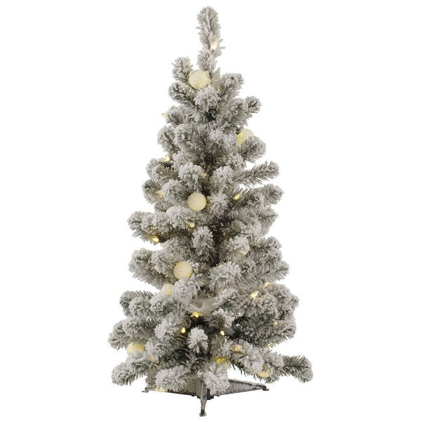 3' Flocked Kodiak Spruce Artificial Christmas Tree with 50 Warm White LED and 15 Warm White G40 LED Lights