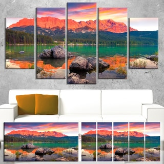 Colorful Eibsee Lake Sunset - Landscape Photo Canvas Art Print