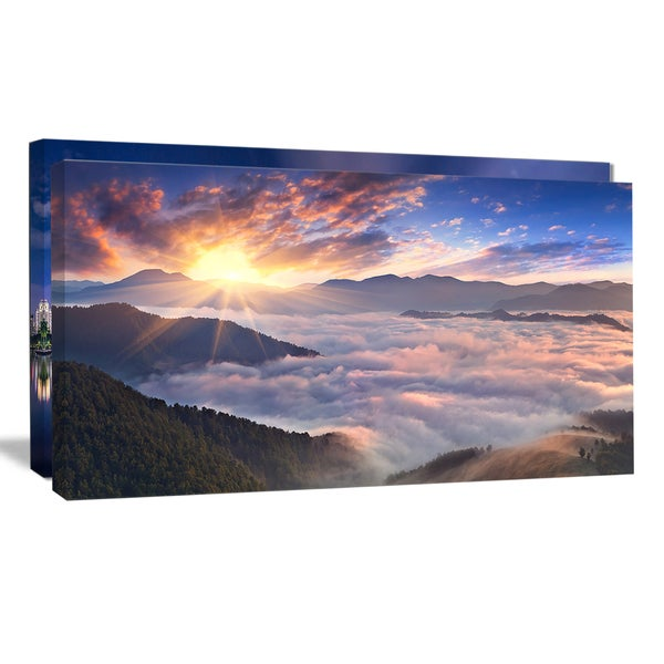 Bright Sun in Misty Mountains - Landscape Photo Canvas Print