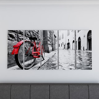 Retro Vintage Red Bike - Cityscape Photography Canvas Print