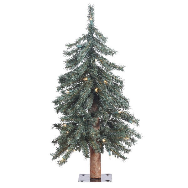 Vickerman Green PVC 2-foot Natural Bark Alpine Artificial Christmas Tree with 35 Clear Lights