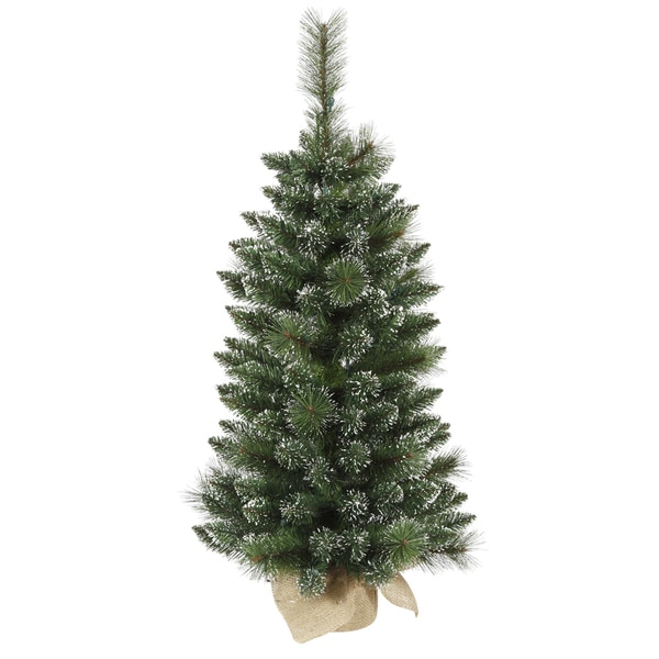 Vickerman Green Plastic 3-foot Snow-tipped Mixed Pine and Berry Unlit Christmas Tree