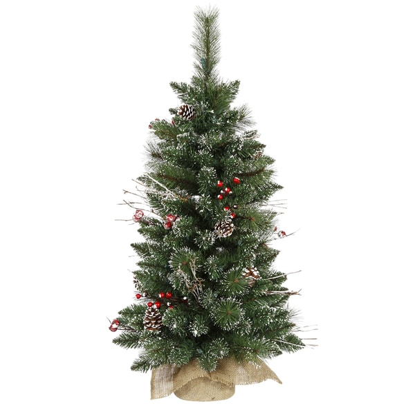 Vickerman Snow-tipped Pine and Berry 3-foot Unlit Artificial Christmas Tree