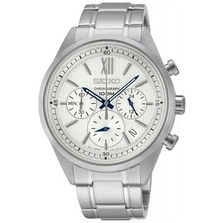 Seiko Men's Stainless Steel Silver Tone Chronograph Watch with a Hardlex Crystal, White Dial and a Date Window
